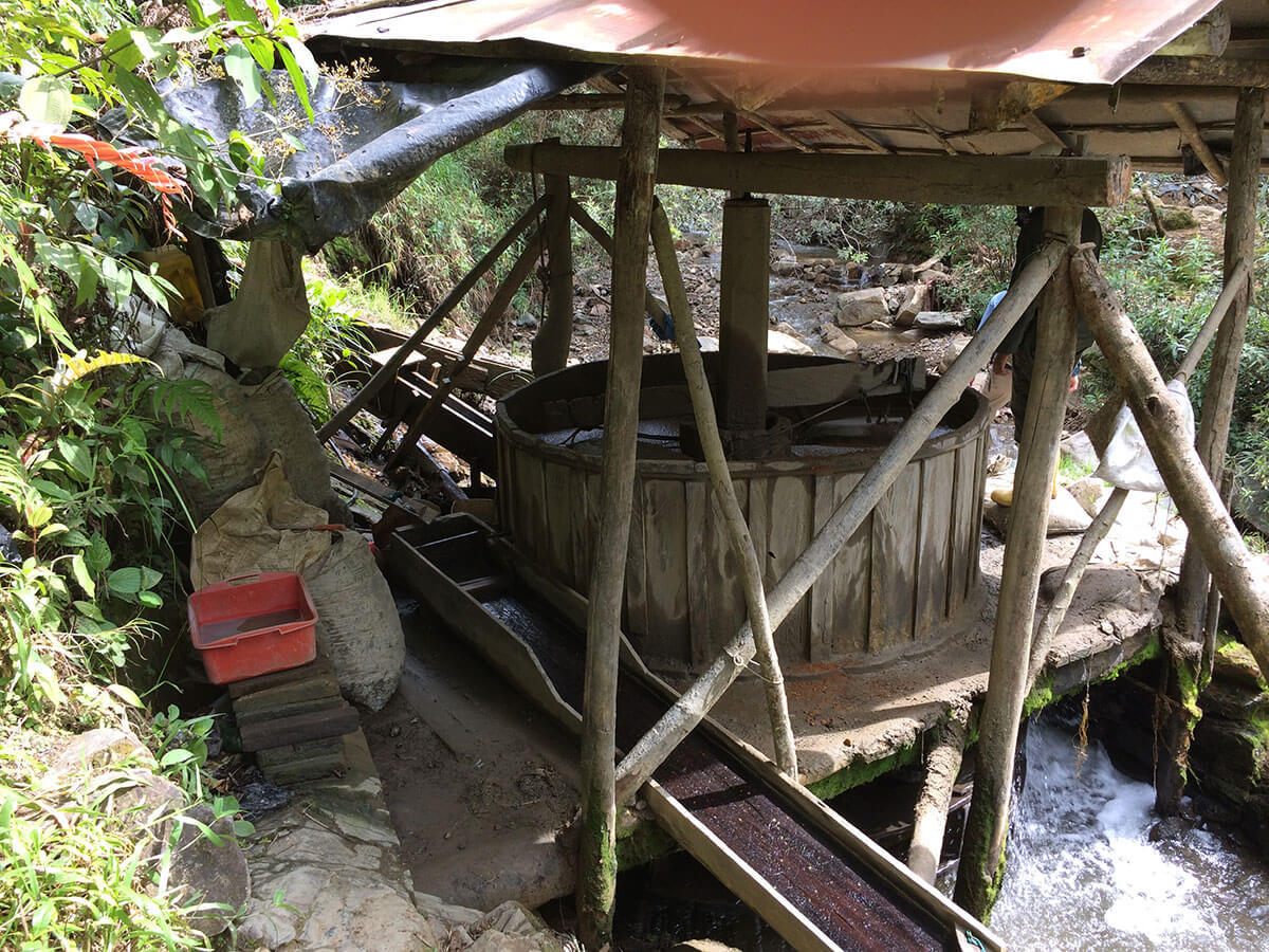 One of 33 water powered arrastre mills operating on the property