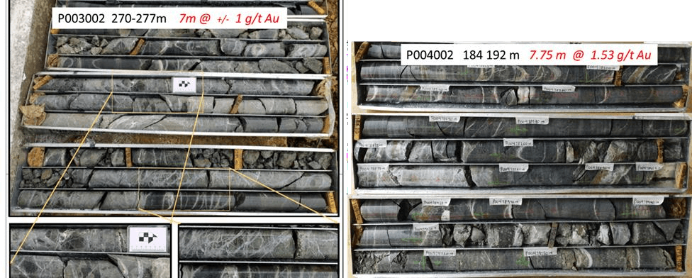 Thicker mineralized intercepts in P003 and P004